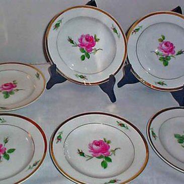Meissen pink rose dessert plates. Sold.