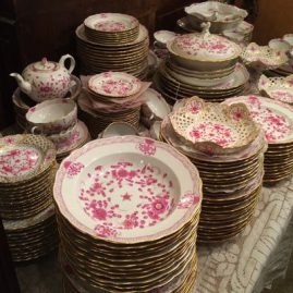 Large Meissen purple Indian dinner service for twelve+ with tea pot , coffee pot, reticulated pieces, and many serving pieces. Prices on Request