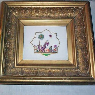 Meissen rare plaque, size with frame-11 by 10 inches, 1880s, Sold  We have many other rare Meissen pieces. Please look through our Meissen Section.
