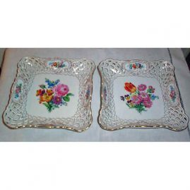 Pair of Meissen reticulated square bowls