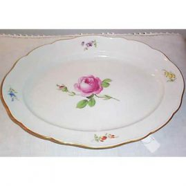 Meissen pink rose platter, ca-1880s, 16 1/4 inches, $995.00