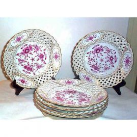 6 Meissen Purple Indian reticulated plates, circa-1870s, 9 1/4 inches, sold