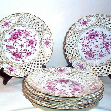 6 Meissen Purple Indian reticulated plates, circa-1880s, 8 1/2 inches, sold