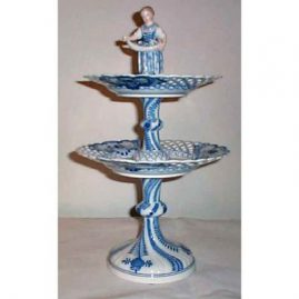 Meissen two tier figural centerpiece, 17 1/2 inches tall, 1890s, sold