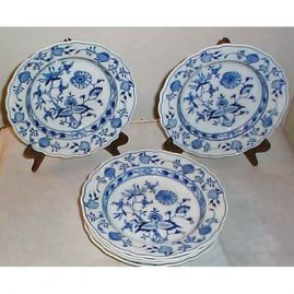 12 Meissen blue onion wide rim  soups, ca-1890s. Price on Request.