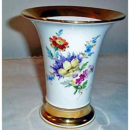 Meissen vase with flower bouquet on both sides,  6 1/2 inches tall, ca-1880s, Sold
