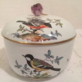 Meissen bird container or covered sugar, 18th century, painted with birds and bugs. 5 inches tall by 5 1/2 inches wide, Price on Request.