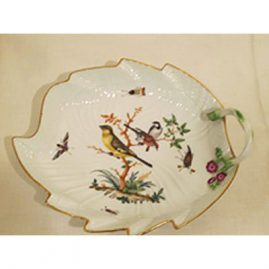 Dot Meissen 18th century bird and bug leaf bowl with three birds and raised flowers, 9 inches wide and 7 inches tall. Sold.
