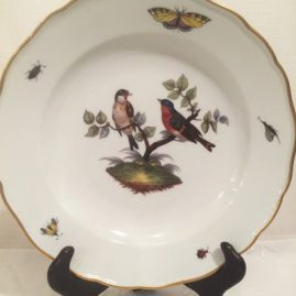 Meissen plate painted with birds and bugs