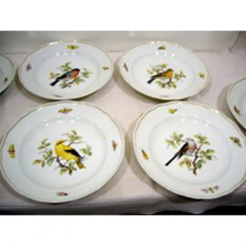 Set of six Meissen bird plates each painted with a different bird and bugs
