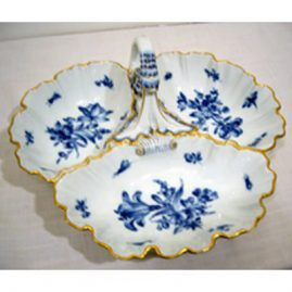 Meissen blue flowered three compartment bowl with blue flowers and bugs and fancy handle, 12 inches by 13 inches, ca-1870s- 1880s, Price on Request