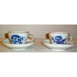 Meissen blue flowered cup and saucer, ca-1953-1957, one left. Sold.