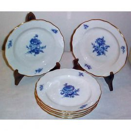 Six Meissen blue flowered luncheons,  8 inches, ca-1951-1953, sold