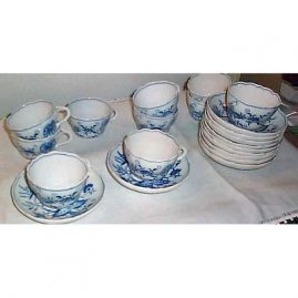 12 Meissen blue onion cups and saucers