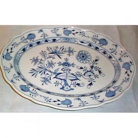 Meissen blue onion platter, 16 3/8 inches, ca-1890s. We have other blue onion Meissen platters available like a 18 13 7/8 inch and a 13 3/4 by 10 inch platter.