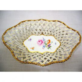 Meissen reticulated bowl, 13 inches by 9 1/2 inches, with bouquet in interior, ca-1880s, $895.00