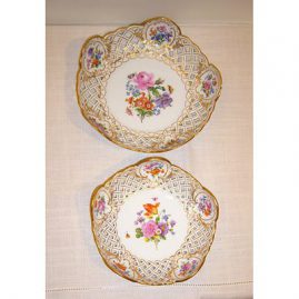 "Two fluted Meissen reticulated bowls, late 19th century, small fluted-7"", large fluted-9""-Sold"