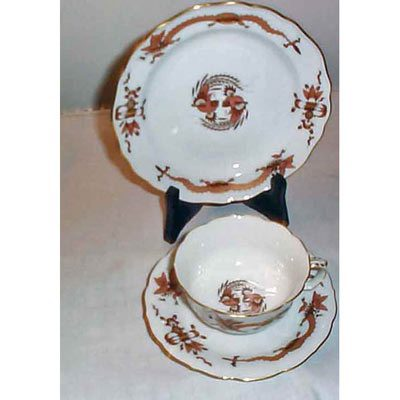 Meissen brown dragon 3 piece cup and saucer set