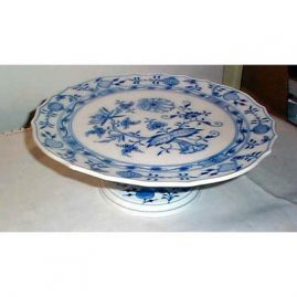 Meissen blue onion cake  stand, diameter 12 1/2 inches, sold