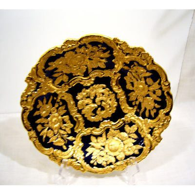 Meissen cobalt and gold charger,with profuse gold decoration