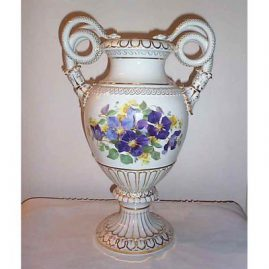 Large Meissen snake handled vase,circa-1890s-1910, purple clematis on one side and roses on other