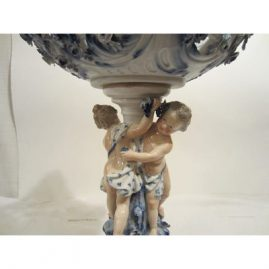 Close-up of figures on Meissen centerpiece.. Late 19th century. Sold.