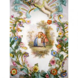 Close-up of Boucher scene on Meissen figural plaque. You can see all the raised flowers on the Meissen plaque, Sold
