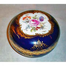 Meissen cobalt flowered box,  6 inches, ca-1890s, Sold. We have other Meissen boxes available