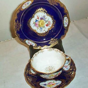 Three piece Meissen cup and saucer and dessert plate, ca -1890s-1900, Sold. We have many other cups and saucers available.