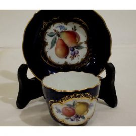 Meissen demitasse cobalt fruit cup and saucer with flowers and fruit