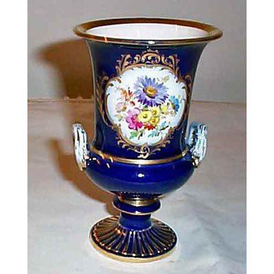 Meissen cobalt flowered vase with flowers