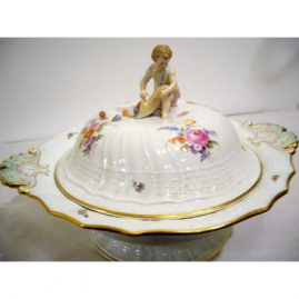 Rare covered Meissen figural vegetable painted with bugs and flowers with basket weave border