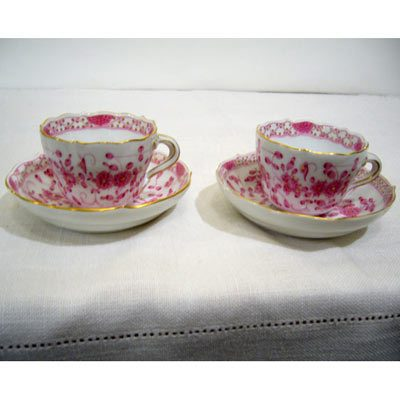 7 Meissen purple Indian demitasse cups and saucers