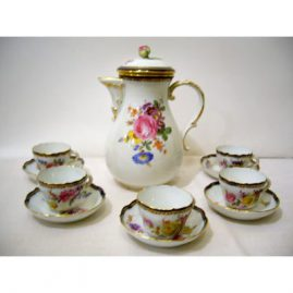 Meissen demitasse set with coffee pot and ten demitasse cups and saucers . Each cup and saucer has different bouquets and cobalt and gold borders, ca-1890s, Sold. We have other Meissen coffee sets available.