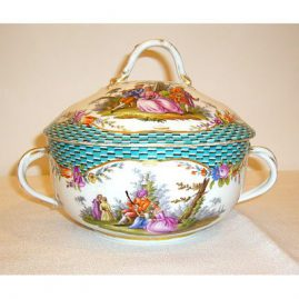 "Meissen covered ecruelle with cover, ca-1870s-1880s, width-8 1/2"", $1500.00"
