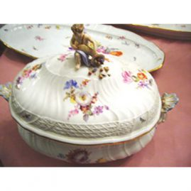 Rare Meissen figural tureen, 11 1/2 inches tall by 14 inches wide,. ca-1880s, painted with bugs and flowers, Price on Request