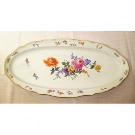 "Meissen fish platter with bugs and flowers, late 19th century,  24"" by 11 1/2"", Price on Request"