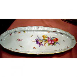 Rare Meissen fish platter with flower bouquet with purple tulip and bugs