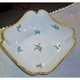 Meissen four cornered  flowered bowl, 8 3/4 inches, ca-1880s. price on request