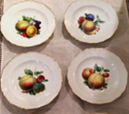 Rare Meissen fruit plates, each painted differently