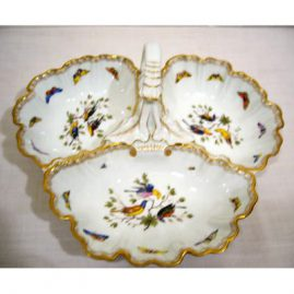 Meissen bird and butterfly three compartment handled bowl with fancy handle, ca-1870s-2 cancellation marks, 13 1/2 inches wide, Sold.