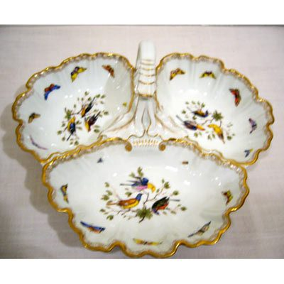 Meissen bird and butterfly three compartment handled bowl with fancy handle