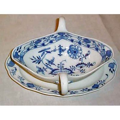 Meissen blue onion gravy and attached under plate