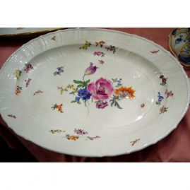 Large Meissen platter painted with flower bouquets and bugs, 16 1/4 by 14 inches, Price on Request