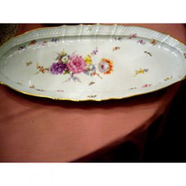 Large Meissen fish platter painted with bouquet of flowers and bugs, 23 1/2 inches by 11 1/2 inches, ca 1880s, Sold