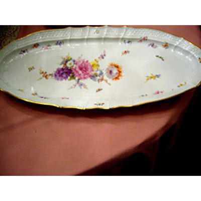 Large Meissen fish platter painted with bouquet of flowers and bugs