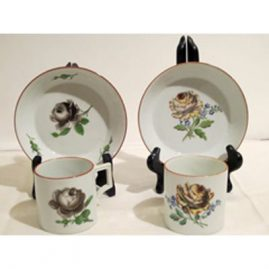 Two Meissen Marcolini cups and saucers. Circa 1774-1815, each with different roses. Price on Request.