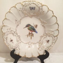 Meissen charger painted with birds and bugs, 12 inch diameter. Sold
