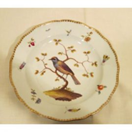 Meissen plate with bird and bug decoration, circa-1860s-1870s, 9 1/2 inch diameter, Sold.