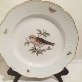 Meissen plate painted with bird and bugs, 9 3/4 inches, 1860s to 1870s, closed lace border. Sold